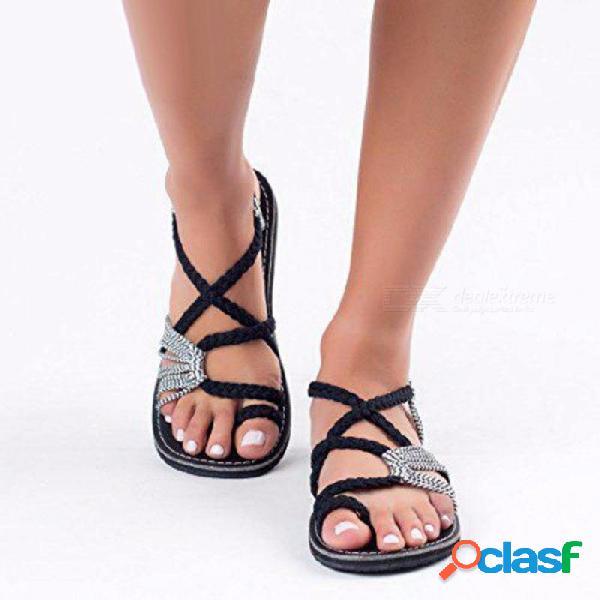 Sandalias planas de verano mujer set de correa de cadena de punta zapatos de playa ocio sandalias romanas moda zapatos femeninos negro / 35