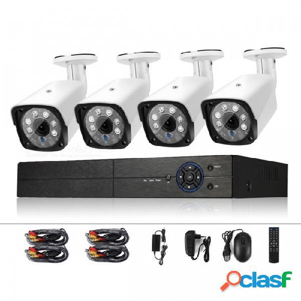 Sistema de vigilancia dvr cocher 4ch 1080n y cámaras cctv 4pcs 720p 1.0mp hd resistentes a la intemperie para la seguridad del hogar