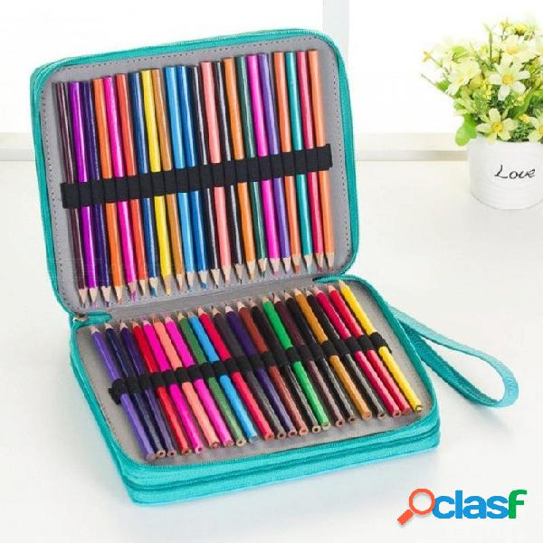 124 titulares caja de lápices de gran capacidad para plumas de arte de acuarela de color PU lápices de cuero caja de la bolsa de útiles de escritorio de la escuela negro