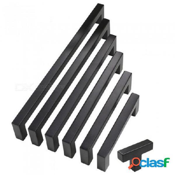 2quot10quot muebles de hardware cuadrado gabinete negro manija de acero inoxidable perillas de las puertas de la cocina armario armario cajón agujero agujero