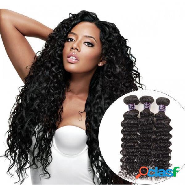 3 paquetes brasileños de la onda profunda del pelo humano ata los paquetes 300g para la cabeza llena color natural pelo no remy 24 26 28