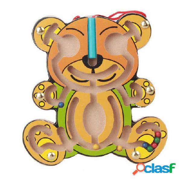 Estilo del oso puzzle magnético laberinto paseo del grano bloque de construcción de juguete - amarillo