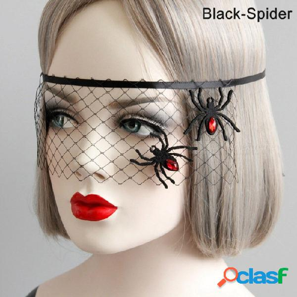 Halloween mascarada fiesta araña flor princesa cubierta de la máscara, media cara malla diversión gafas velo para fiesta festival