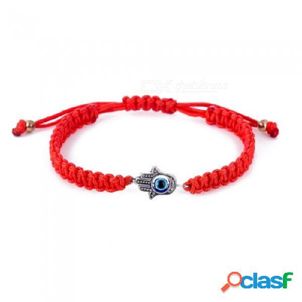 Pulsera ajustable de la cuerda del hilo rojo, pulsera tejida hecha a mano del mal de ojo, joyería de piedra azul para la señora roja