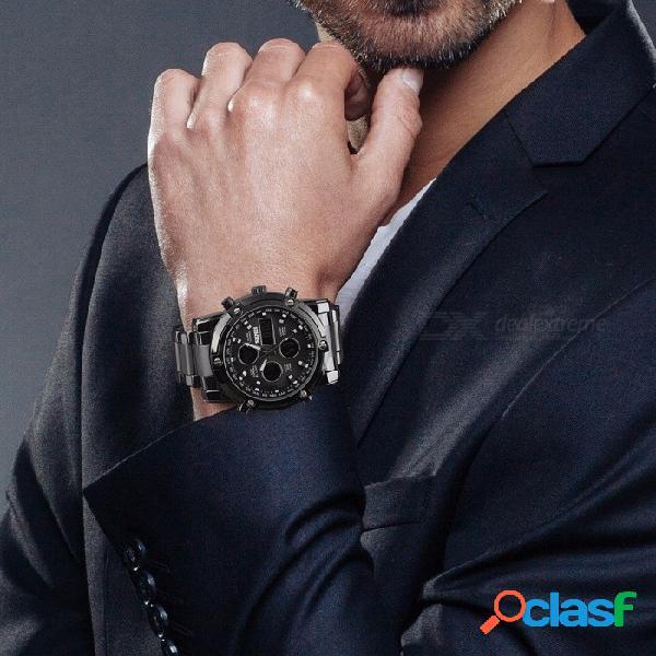 Skmei moda multifunción para hombre reloj de pulsera 30 m reloj digital a prueba de agua con fecha de la semana cronómetro reloj de alarma de plata