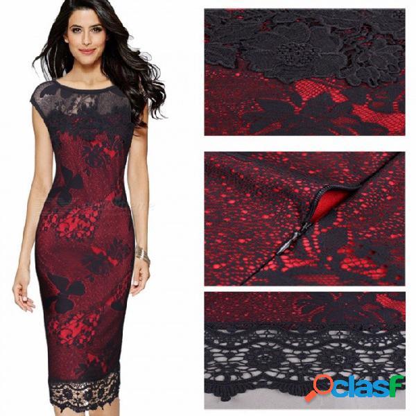 Vestido de fiesta bordado cordón floral atractivo hueco de las mujeres delgadas, vestido de una sola pieza del bordado para la señora borgoña / 5xl