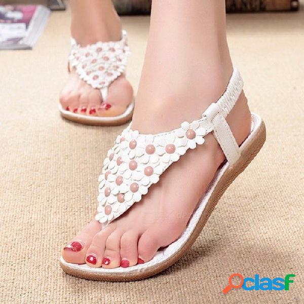 Zapatos de sandalias de estilo bohemia de verano, dedo del pie zapatos planos de flores con banda elástica para las mujeres de color beige