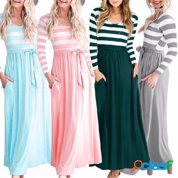Am222 vestido casual a rayas con corte largo, para mujer, con cinturón, cuello redondo, vestido de manga larga de gran altura para mujer azul claro / s