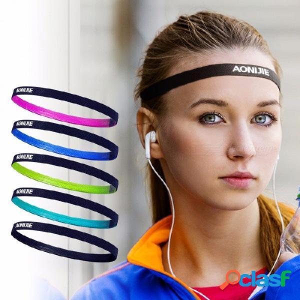 Aonijie cabeza elástica sweatband, silicona suave corriendo yoga banda de sudor para hombres mujeres, gimnasio baloncesto diadema de tenis rosa