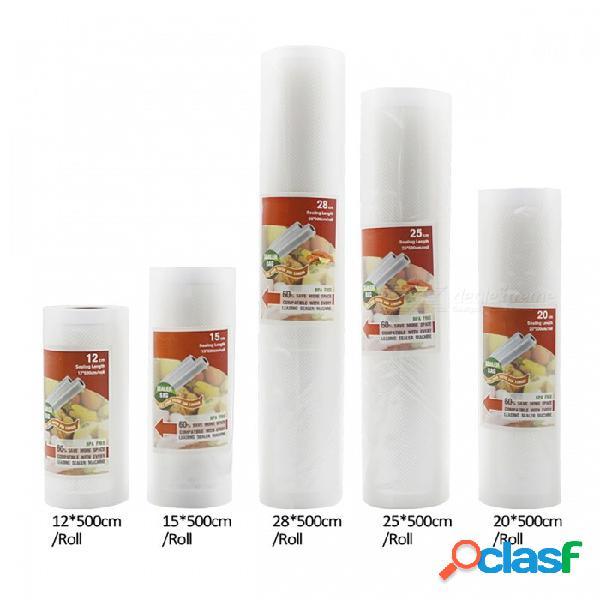 Bolsas de almacenamiento de sellador de vacío de comida de cocina para mantener fresca comida larga (5 rollos / lote)