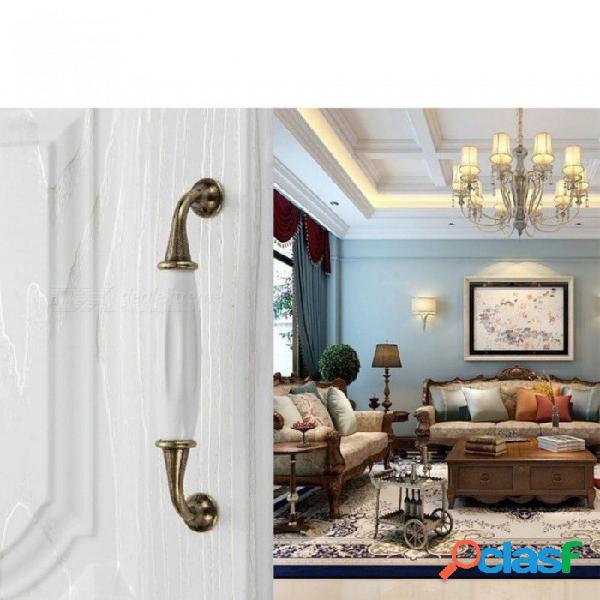 Manijas de las puertas de cerámica blanca las manijas de los muebles antiguos europeos tiran de las perillas y las manijas del gabinete de cocina i
