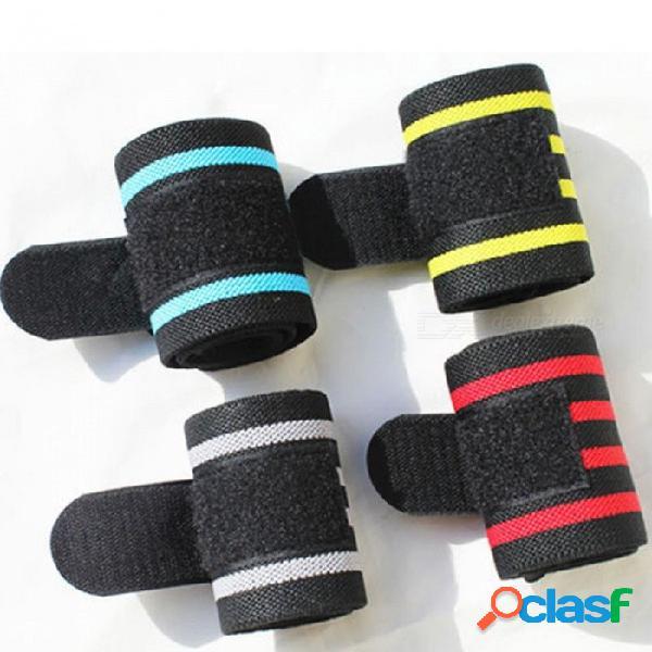 Powerlifting fitness gym deportes muñequera cinta vendada, muñequera con soporte para la mano, protector de muñeca ajustable (1 pc) azul