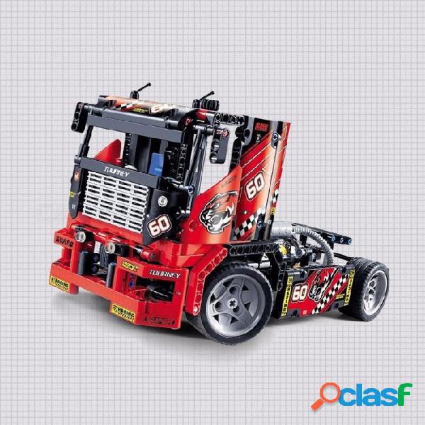 2-en-1 técnica camión de carreras de motocicletas modelo de coche ladrillos de construcción bloques de juguete para niños niños rojos