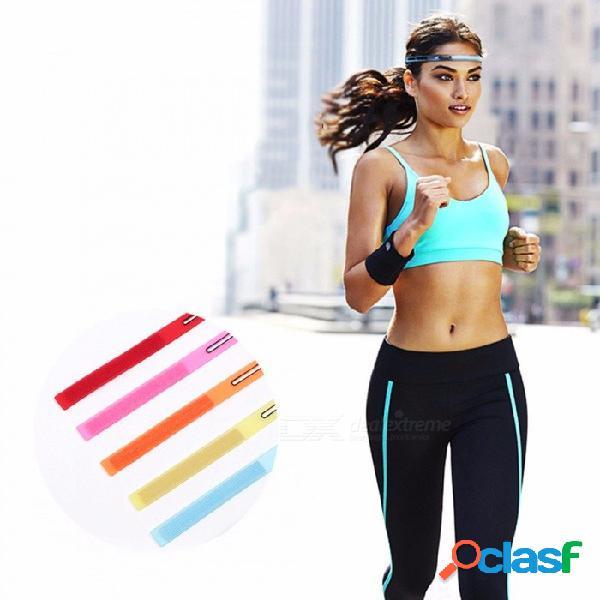 Banda para la cabeza elástica, correa de sudor de yoga suave funcionamiento de silicona para hombres mujeres, baloncesto de fitness diadema de tenis cielo azul