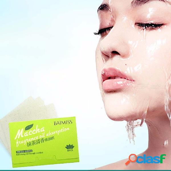 Cuidado facial papel absorbente de aceite matcha perfume control de aceite facial papel secante herramientas de belleza estética