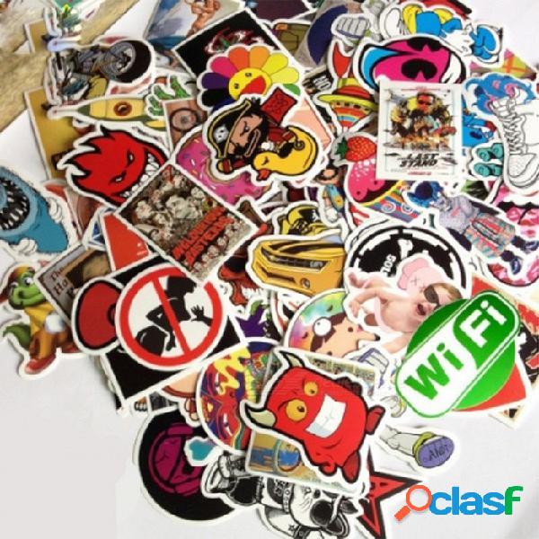 Etiqueta engomada única del vintage 100pcs para la decoración del monopatín del coche del equipaje del ordenador portátil - multicolor (estilo aleatorio)