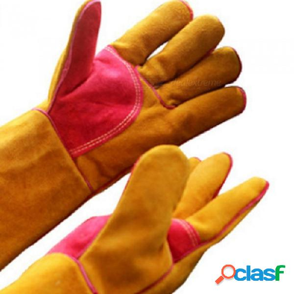 Guantes de soldadura de cuero de cuero de vaca, guantes de aislamiento térmico resistentes al desgaste y resistentes al jardín de protección naranja / l