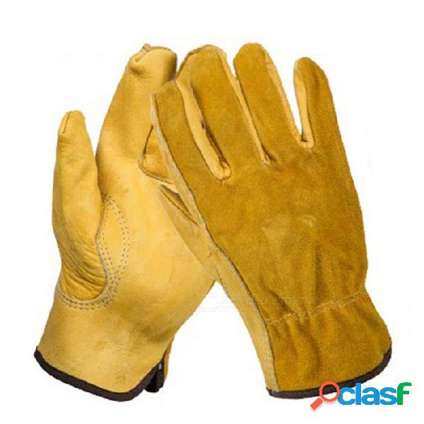 Ozero cuero de vaquero hombres trabajando guantes de soldadura, protectores de seguridad, deportes de jardín, guantes resistentes al desgaste moto (1 par) amarillo / m