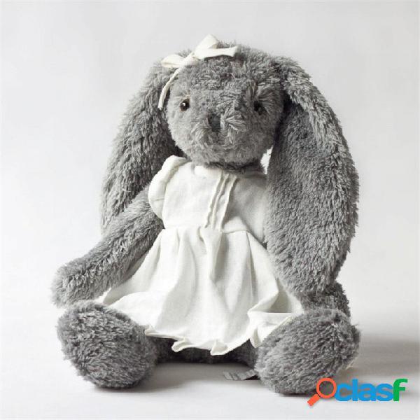 Peluche gris conejo llevar blanco falda de lino hermoso conejito nuevo diseño alta calidad sentado alto 28cm total 45cm total45 sentado28 cm