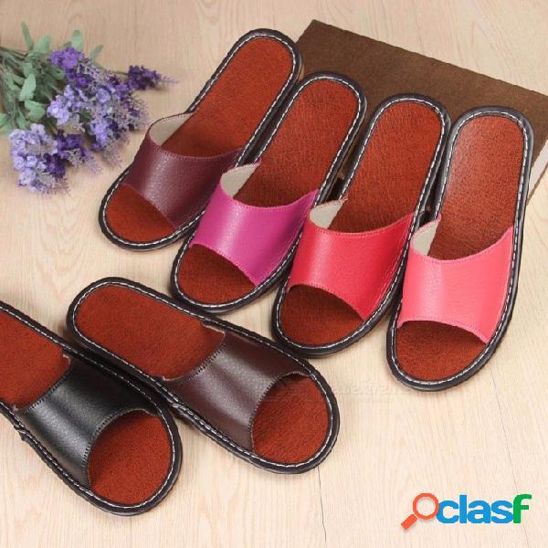 Zapatilla de deporte suave de cuero suave de verano, sandalias planas cómodas casuales para uso doméstico de interior negro