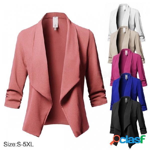 Color sólido, traje, manga larga, solapa, traje casual, pequeño, delgado, para mujer, chaqueta, ropa de trabajo, chaquetas para mujeres, azul / s