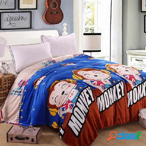 Dibujos animados de felpa caliente suave imitación de visón franela manta de lana tira doble / completo / tamaño queen lindo sofá cama hoja de cubierta de aire monke azul