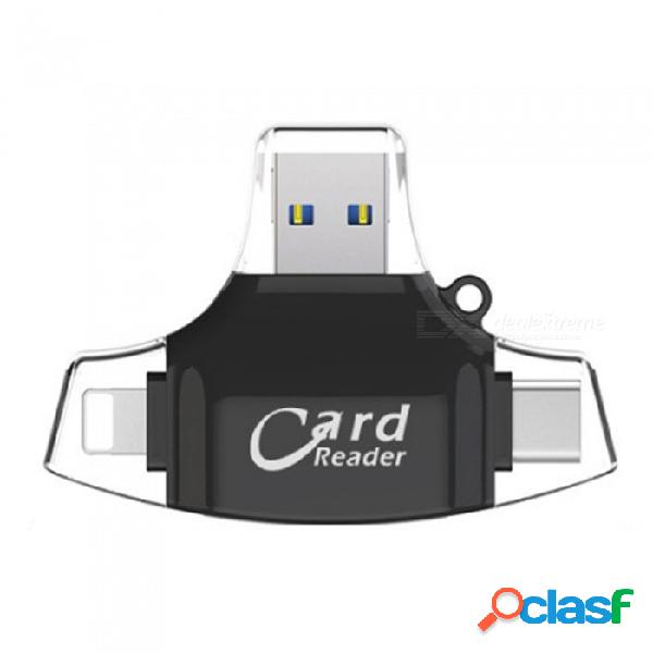 Forma de t 4 en 1 usb micro usb 8 pines tipo rayo lector de tarjetas otg tipo micro sd multifunción / tf lector de tarjetas sd blanco