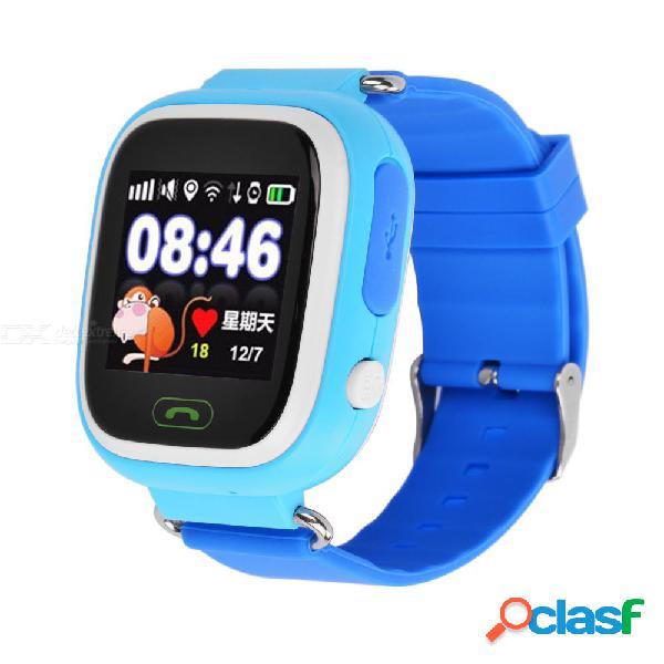 Q90 posicionamiento del teléfono gps moda niños lindos reloj de 1,22 pulgadas de pantalla táctil a color relojes electrónicos inteligentes para niños azules