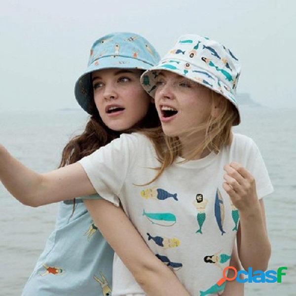 Sombrero de cubo de vacaciones gorras de pesca chapeau cool chaleco plano panamá precioso sombrero de cubo para mujeres bob polo bape playa sol sombrero rosa