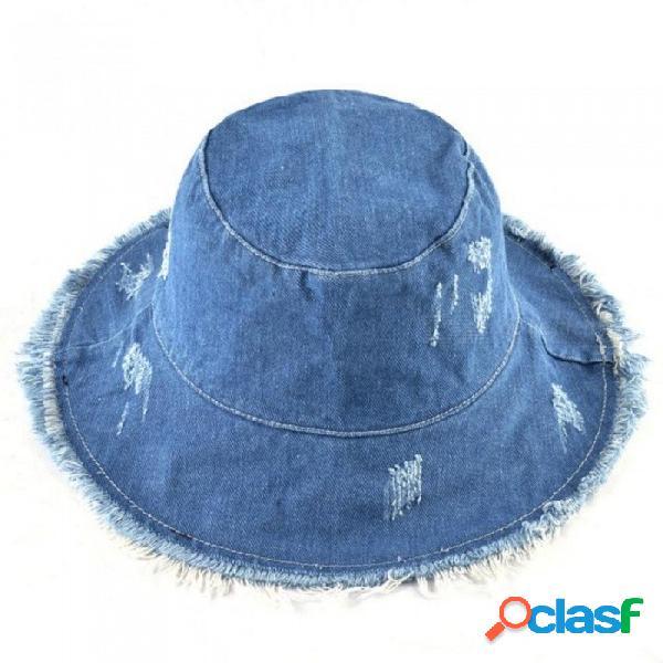 Verano lavado sombrero de mezclilla sol sombrero de borla de la manera mujeres señoras de ala ancha cubo de la playa sombreros sombreros de algodón plegable femenino 56-58 cm / blue3