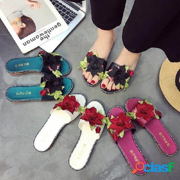 Zapatos planos de verano 3d rosa floral bordar zapatillas suaves cómodas chanclas para mujer negro / 35