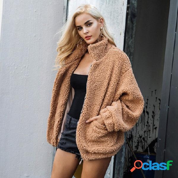 Abrigos de chaqueta de gran tamaño de piel de oveja de imitación simple abrigos de invierno abrigados para mujeres prendas de abrigo abrigo