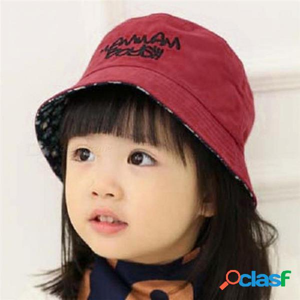 Algodón bebé verano sombrero niños carta cap sol cubo sombreros gorras de doble cara plana cubo sombrero para niña niño amarillo