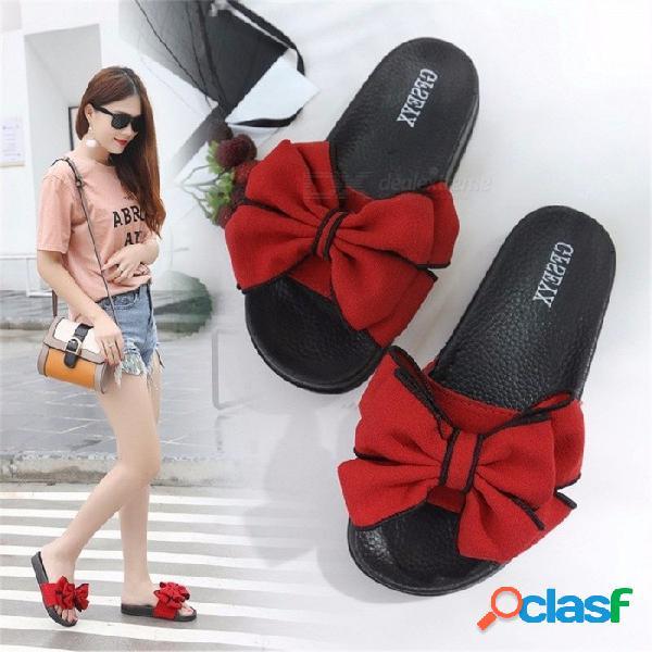 Arco de las mujeres de gran tamaño zapatillas de verano de gamuza respirable desgaste antideslizante interior de gran altura zapatillas de pu negro / 35