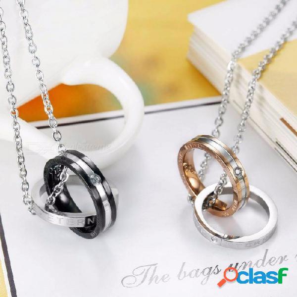 Cadena de acero inoxidable collares de amor para parejas, moda para mujer pares de círculos dobles anillo colgante collar