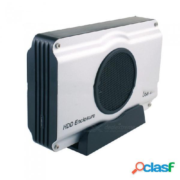 Caja de disco duro usb3.0 sata de alta velocidad caja del disco duro con ventilador de radiador para 2.5 / disco duro de 3.5 pulgadas de plata