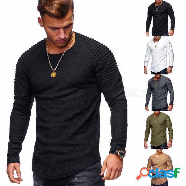 Camiseta de manga larga de color sólido de cuello redondo de los hombres de moda, camisetas de hip-hop ocasionales de la camiseta para hombre negro / s