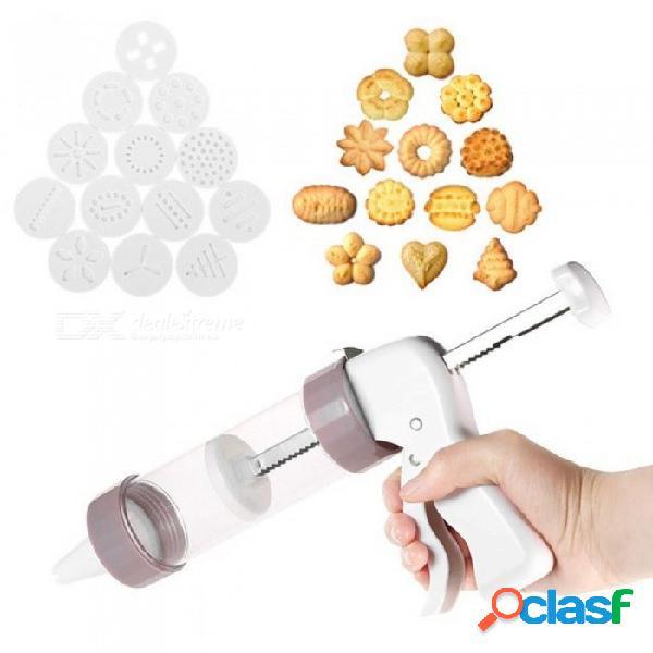 Equipo de prensa de galletas máquina de hacer galletas molde decoración de pasteles 13 moldes de prensa y 6 boquillas de pastelería galleta herramienta fabricante de galletas blanco