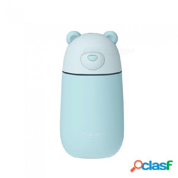 Forma de oso polar portátil lindo humectador de humidificador de aire usb 3 en 1 con luz de noche led, mini ventilador de refrigeración gris claro / us