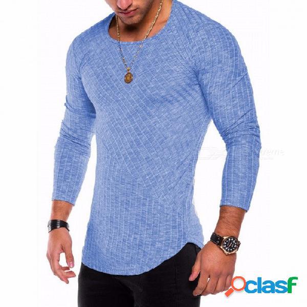Nueva camiseta de fondo con dobladillo de arco de costura en color sólido de 2018, camisa de manga larga con cuello redondo para hombres - azul