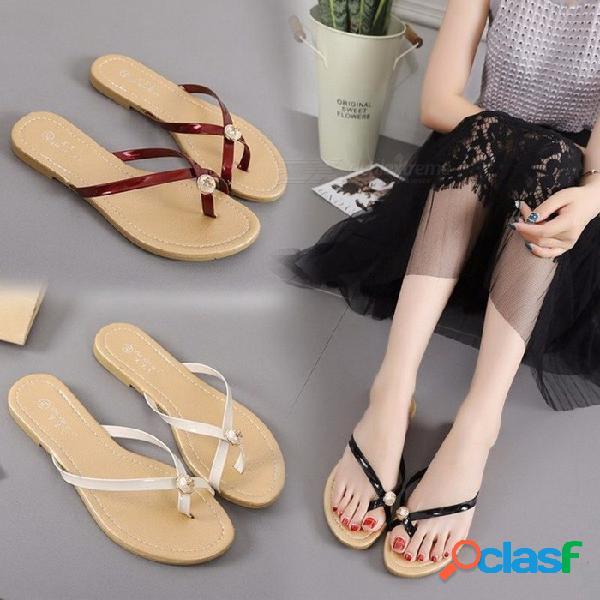 Nuevos zapatos planos de verano de cristal pu playa antideslizantes chanclas casuales zapatillas de color sólido para las mujeres de color beige / 36