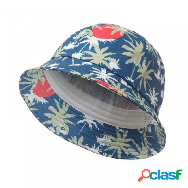 Otoño sombrero de coco impresión cubo de algodón sombrero sol al aire libre beach cap pescador panama sombreros deportivos para mujeres hombres azul