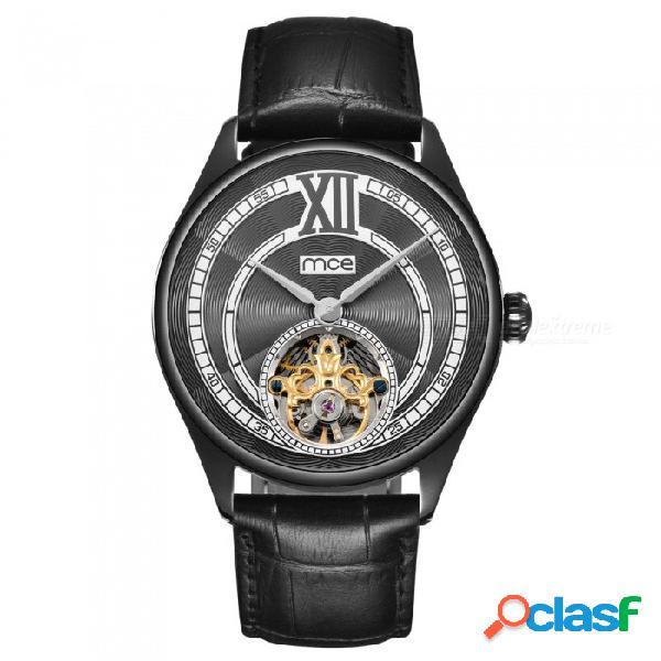 Reloj mecánico para hombre de acero inoxidable mce de alta calidad, totalmente automático, impermeable y con volante de inodoro. - negro