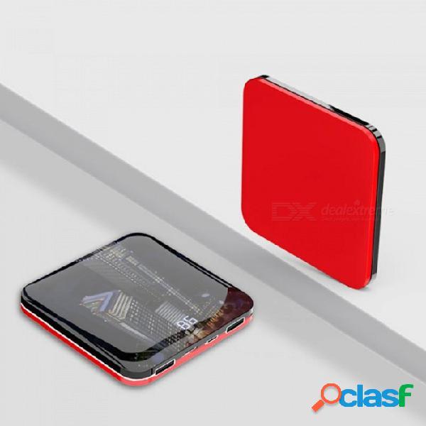 Superficie del espejo ultrafino mini portátil de energía móvil banco doble puerto usb que carga la batería 8000 mah negro