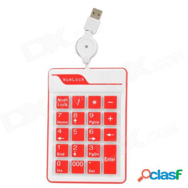 Teclado numérico externo de 19 teclas con cable usb de silicona para computadoras portátiles - blanco + rojo