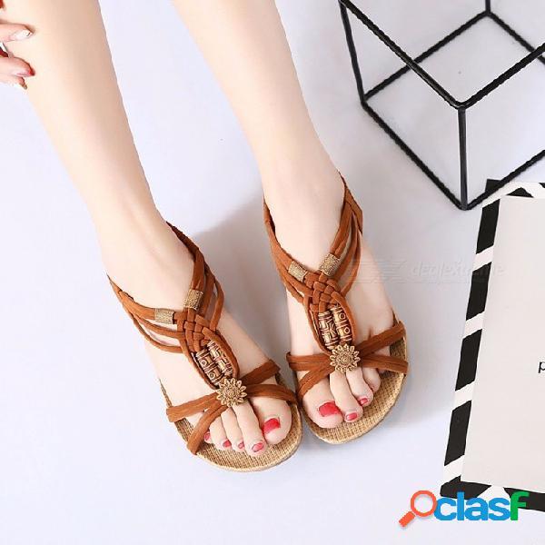 Verano bohemia sandalias de cabeza plana de pescado, sandalias romanas hechas a mano con cuentas zapatos planos beige / 36