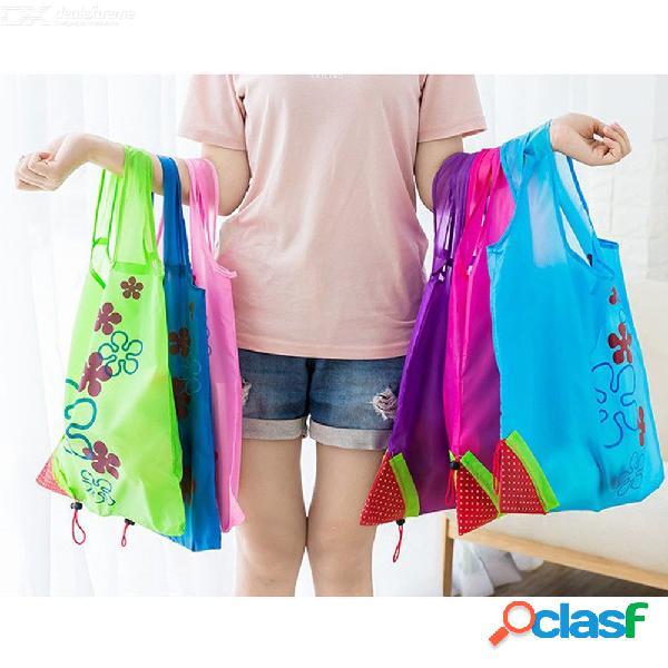 Bolso de nylon plegable reutilizable de los bolsos de compras de la fresa ambiental creativa del bolso del almacenamiento