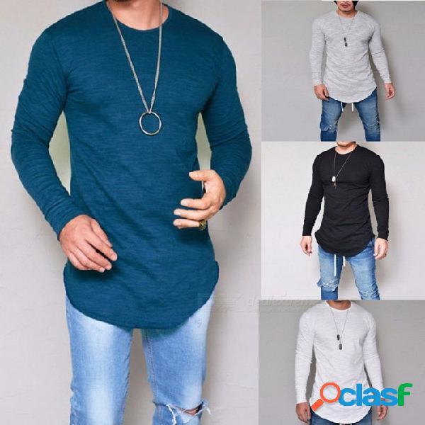 Camiseta redonda de los hombres del color sólido delgado del cuello redondo del otoño, camiseta de manga larga ocasional de la camiseta para los hombres