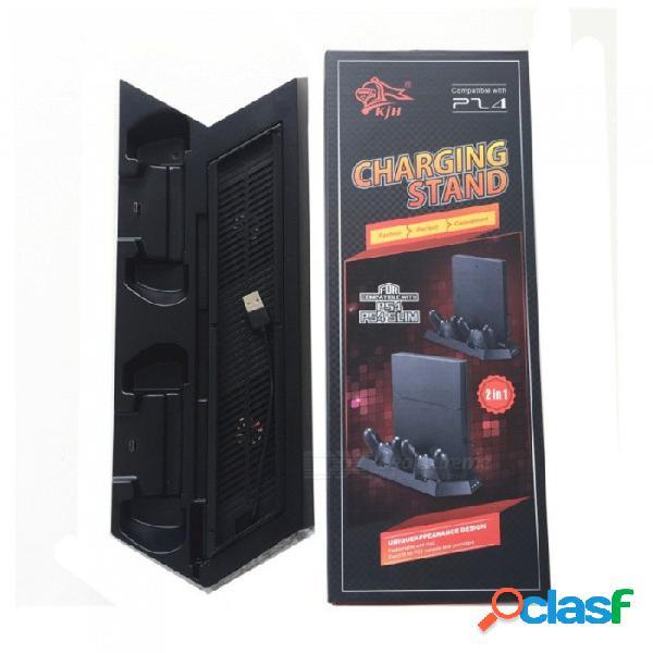 Cargador usb para consola de juegos con 2 ventiladores para ps4 / ps4 cargador delgado y con controlador ps4 negro