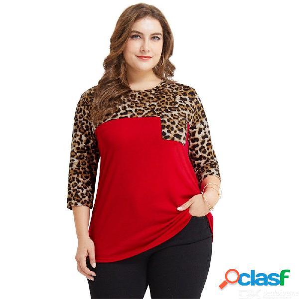 Europa y américa camiseta casual con estampado de leopardo bolsillos patchwork o-cuello camisas de talla grande para mujeres